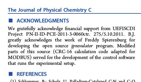 Acknowledgments from Impact of Deactivation Phenomena on Kinetics of the C-N Coupling Reaction over Supported Cu2O Catalysts in Continuous-Flow Conditions, The Journal of Phycial Chemistry C